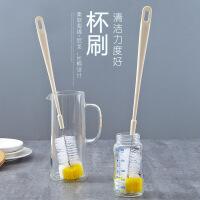 厨房玻璃杯刷创意加长柄奶瓶刷清洗工具洗杯刷海绵刷茶杯清洁刷子 图片色