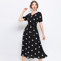 时尚品牌很仙的连衣裙长裙大码2019新款微胖mm雪纺洋气波点短袖遮肚子仙裙SN7659 黑色
