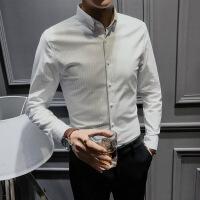衬衫男长袖修身韩版潮流西服帅气西装衬衣青年休闲竖条纹春季寸衫