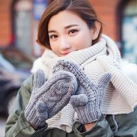 加绒保暖连指麻花手套女冬可爱韩版学生加厚挂脖球球毛线手套
