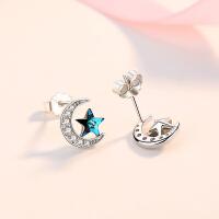 女士气质银耳环星星月亮耳饰小耳垂适合的耳钉银耳环