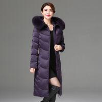 中老年修身过膝长款妈妈装羽绒服女大毛领韩版加厚外套