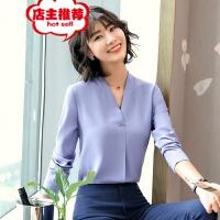 2019春季新款职业装衬衫女长袖韩版女士气质v领工作服白衬衣批发