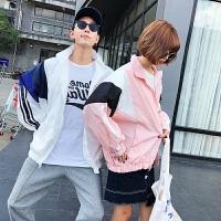 2018夏季港风情侣外套潮流BF风运动棒球服韩版男女宽松拼色夹克衫