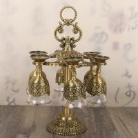 中式白酒杯套装小酒杯玻璃酒杯高脚杯古典酒具家用小号酒盅6只装