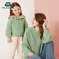 【限时1件6折 2件5折】迷你巴拉巴拉亲子装针织衫女童毛衣2019秋新款母女装灯笼袖毛衫