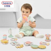 新品樱红色手摇铃0-1岁 婴儿玩具 新生儿宝宝早教牙胶