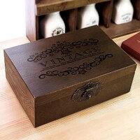复古小木箱带锁木箱收纳木箱储物箱实木盒子木箱家居家装收纳用品整理箱子储物箱置物箱