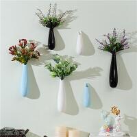卧室房间温馨绿色植物花架家居壁装饰壁挂件餐厅墙面上创意装饰品 ZH-6个花瓶壁饰黑蓝白各2 套餐6都配四束花