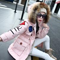 儿童棉衣2018新款中大童冬季保暖女孩中长款韩版棉袄外套