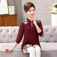 中老年女装春夏装连衣裙雪纺衫妈妈装50-60岁老年人2018新夏季裙 YH8077红色 XL(建议90-108斤)