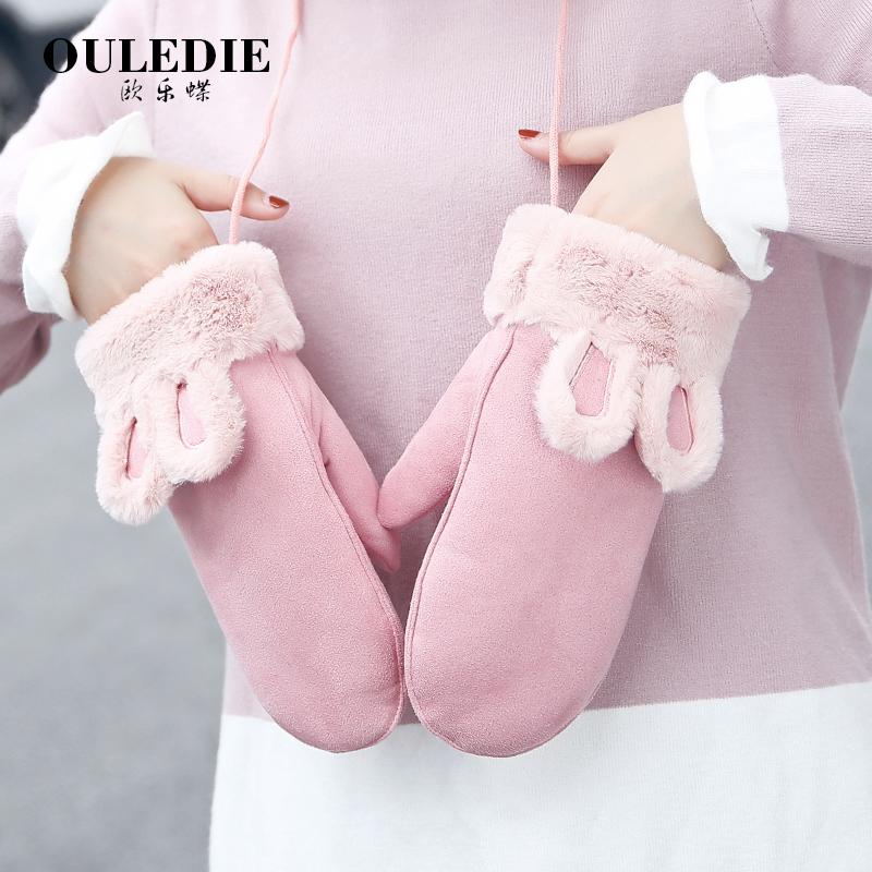 手套女冬季甜美可爱韩版卡通挂脖学生棉骑车保暖新年礼物