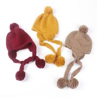 宝宝护耳帽冬季针织儿童套头保暖帽婴儿帽系带毛线帽