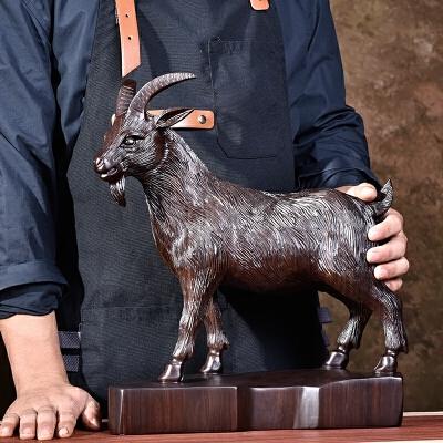 黑檀木雕羊摆件十二生肖羊实木雕刻三阳开泰红木工艺品客厅装饰品