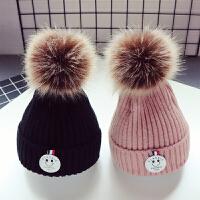 新款秋冬儿童宝宝毛线帽子1男童毛球帽5个月-2岁潮款女套头帽保暖