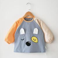 珊瑚绒卡通男孩外套洋气围嘴幼儿童宝宝罩衣男童围衣外穿兜兜褂耐