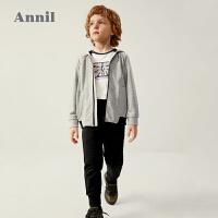 【2件3折价:149.7】安奈儿童装男童秋季套装长袖2020新款洋气男孩连帽外套裤子两件装