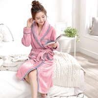 秋冬季珊瑚绒睡袍情侣可爱加厚保暖睡衣冬天中长款法兰绒浴袍浴衣