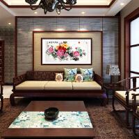富贵成双图水墨国画牡丹图客厅沙发背景墙装饰画新中式卧室餐厅挂画壁画1480