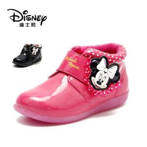 鞋柜/迪士尼冬款卡通魔术贴粉色公主短靴女童