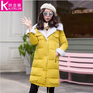 咔金琳  2017冬装新款羊羔毛线毛连帽棉衣韩版加绒加厚外套时尚长款加厚保暖外套