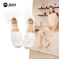 jm快乐玛丽2021春夏新款平底一脚蹬亮片套脚镂空麻底女渔夫鞋