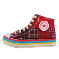 双星高帮学生女鞋韩版内增高厚底松糕透气拼接五角星休闲帆布鞋 2vxwsl233