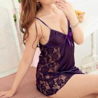 情趣内衣诱惑套装透明吊带睡裙蕾丝绣花性感睡衣紫色冰丝女 紫色 均码