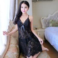 女士夏季透明蕾丝性感睡衣带胸垫 诱惑情趣内衣吊带睡裙 160(M) 1层