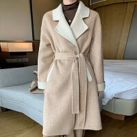 秋冬新款双面呢羊绒大衣女AB面中长款西装领腰带宽松韩版纯羊毛呢外套