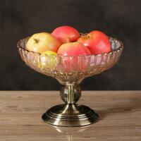 现代欧式客厅创意茶几水晶玻璃水果盘糖果罐烟灰缸摆件套装