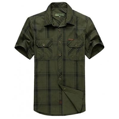短袖衬衫男士休闲半袖夏天宽松大码格子衬衣工装寸衫涂 绿色 5002