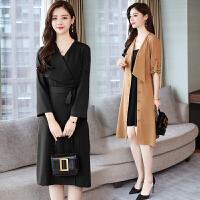 RANJU 然聚2018女装秋季新品新款中长款V领连衣裙韩版系带排扣风衣款两穿