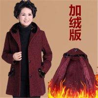 �����b毛呢外套秋冬�b呢大衣中老年女�b5060奶奶衣服老人上衣�B帽