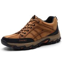 秋季新款男士登山鞋防滑耐磨户外休闲鞋牛皮舒适鞋子