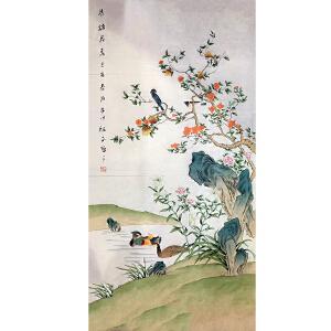 山东菏泽人,中国牡丹书画研究院院长吴绍正(鸟语花香)40