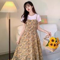 收腰假两件套装连衣裙子夏装新款流行仙女超仙森系