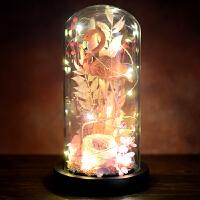 永生花火烈鸟玻璃罩礼盒 diy材料包玻璃罩礼盒玫瑰花手工制作套装长生花礼物