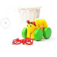 牵拉玩具 儿童木制卡通动物拉绳 毛毛虫拉线玩具宝宝拖拉学步早教1-3岁