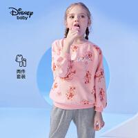 【3件3折券后价:107.9元】迪士尼女童秋装2021秋季新款运动套装儿童卫衣两件套春秋薄款