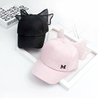 儿童蝴蝶结棒球帽粉色休闲帽鸭舌帽女孩