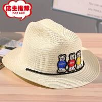 2019新款儿童帽沙滩帽子防晒遮阳帽男女通用可折叠小熊牛仔草帽