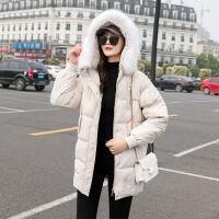 羽绒服女中长款2019冬装韩版修身显瘦学生外套大毛领潮 M 建议90-105斤