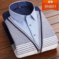 秋冬季毛衣男中年假两件保暖衬衫领修身针织衫加绒加厚套头打底衫