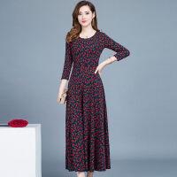 秋冬季大码优雅连衣裙收腰显瘦中长款中老年女装打底印花裙子 红色花 D36 M 80-100