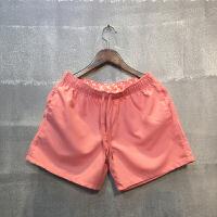 沙滩裤男速干五分裤夏季透气休闲裤运动裤短裤男士三分裤海边热裤 粉红色 S