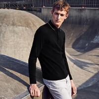BOSSsunwen男士羊毛衫2018秋新款纯羊毛带扣翻领套头毛衣羊毛衫