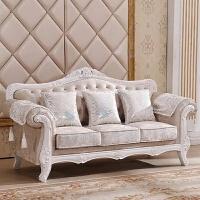 欧式布艺沙发123组合简欧风格客厅大小户型可拆洗整装实木三人位
