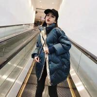 2019韩国亮面羽绒服女中长款学生大码面包服冬外套女 S 80-115斤