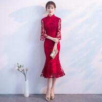 旗袍式敬酒服2018新款夏季中长款中国风红色新娘结婚鱼尾礼服裙女
